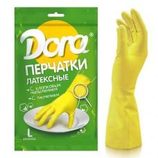 Перчатки DORA латексные универсальные размер L с хлопковым напылением
