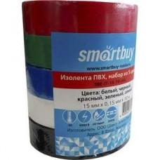 Изолента ПВХ SMARTBUY 0.15*15 мм 10 метров SBE-IT-15-10-mix 5 цветов