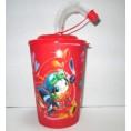 Стакан 250 мл для напитков с крышкой и трубочкой 3D 41063