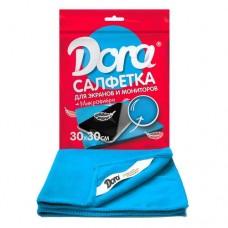 Салфетка из микрофибры DORA 30*30 см (1 шт) для экранов,мониторов и электротехни
