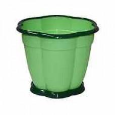 Горшок ВОСТОРГ 1.5 л зеленый, с подставкой, М-1218