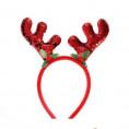 Новогоднее украшение ОБОДОК с оленьими рожками красный 69159