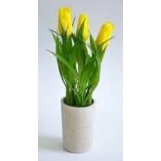 Цветок ДЕКОРАТИВНЫЙ в горшке 16-0108 Тюльпаны желтые мини