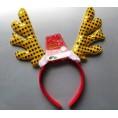 Новогоднее украшение ОБОДОК с ольеньми рожками желтый 69158