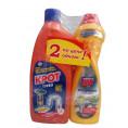 Чистящее средство КРОТ ТУРБО гель 1000 гр + BLITZ супер-блеск крем для кухни 500
