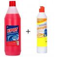 Чистящее средство КРОТ розовый от засоров 1 л + BLITZ Санитарный гель д-сантехники ПРОМО