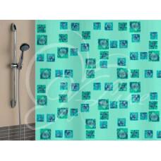 Штора для ванной VLINE ракушки зеленые