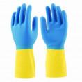 Перчатки GLOVES латекс плотные сине-желтые L