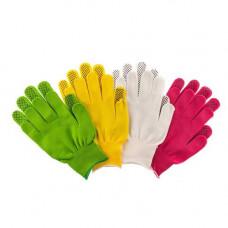 Перчатки НЕЙЛОНОВЫЕ с ПВХ ТОЧКА комплект 4 шт цветные размер L , 67852