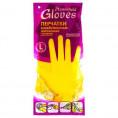 Перчатки HOUSEHOLD латексные желтые L хлопк. напыление