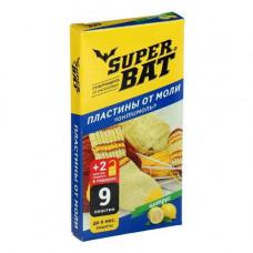Пластины от моли SUPER BAT 9 шт +2 крючка цитрус