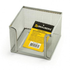 Подставка для бумажного блока BRAUBERG металл 78*105*105 мм серебро 231945
