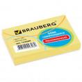 Блок для записей BRAUBERG проклеенный 76*51 мм 100 листов желтый 122689