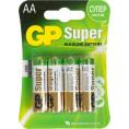 Батарейка ПАЛЬЧИКОВАЯ LR6  GP SUPER алкалиновые блистер 4 шт(цена за 1 шт)