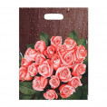 Пакет С ПРОРЕЗНОЙ РУЧКОЙ 37*44 розовые розы